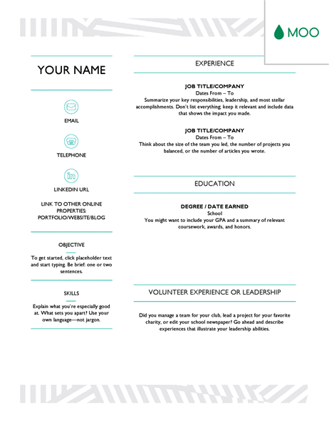 Resume template for MS Word with header and footer design