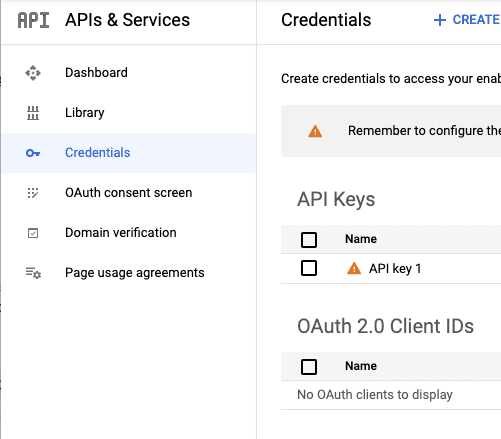 Credentials sidebar that allows you to find your YouTube API key