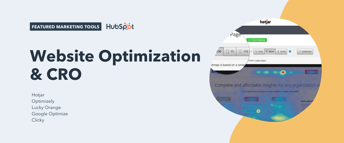 website optimization and cro tools, including hotjar, optimizely, lucky orange, google optimize, and clicky