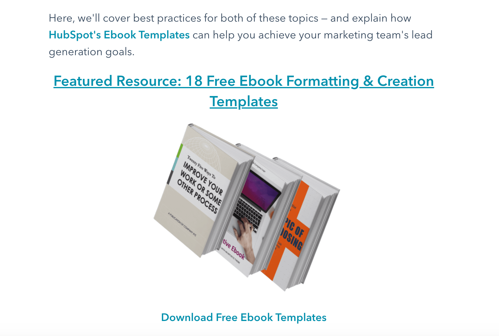 HubSpot's featured resource on ebook formatting templates