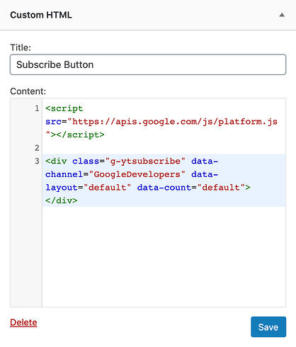 the Custom HTML widget window in WordPress for adding a YouTube subscribe button