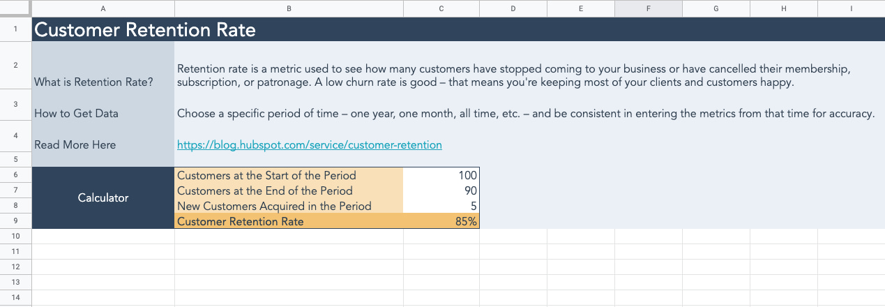 Customer Churn Rate Calculator from HubSpot
