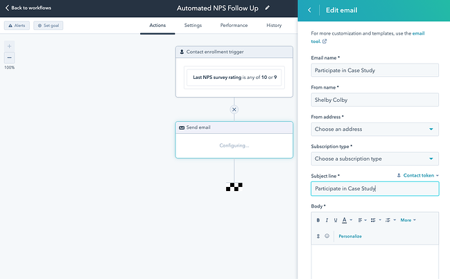 Customer service workflow automation example in HubSpot