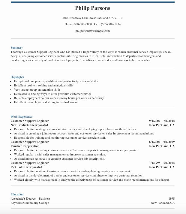 customer-support-engineer-resume-template