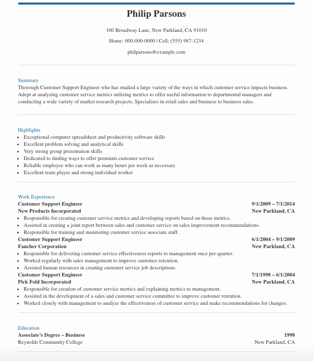 Customer Support Engineer Resume