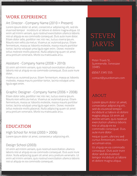 Reverse two-column resume template in CV style with red sidebar
