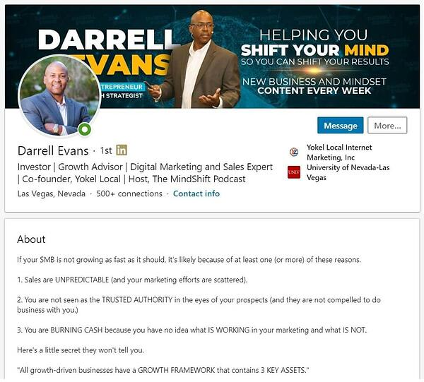 darrell evans linkedin summary example