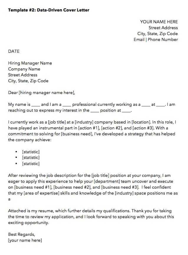 Data Driven Marketing Cover Letter Template