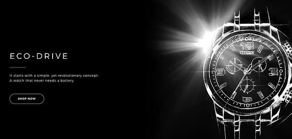 "Eco-Drive ad that reads ""A watch that never needs a battery"" alongside an image of a watch"