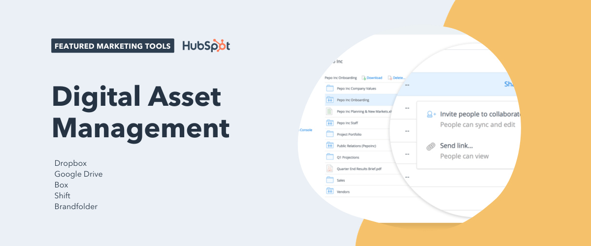 digital asset management tools, including dropbox, google drive, box, shift, and brandfolder