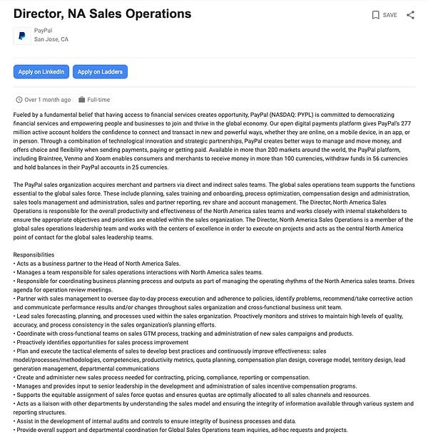 job description example for sales ops director
