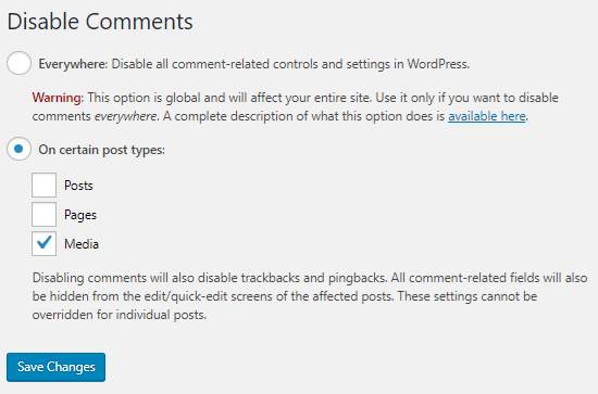 menu for the Disable Comments WordPress plugin