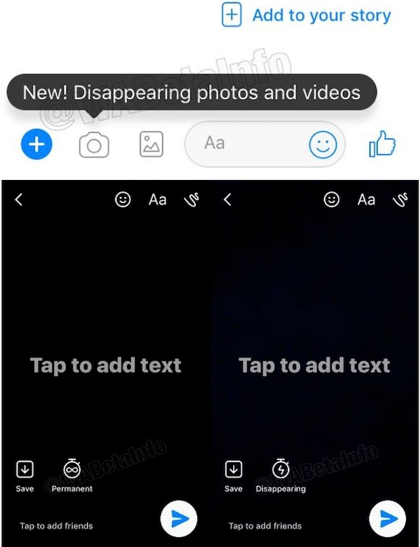 Mobile screen of Facebook's new disappearing content feature