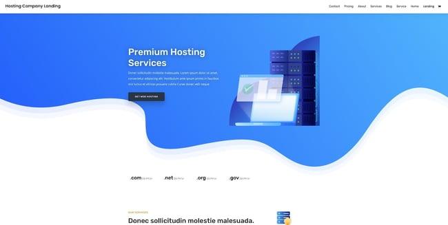 Divi drag-and-drop theme demo for a web hosting site