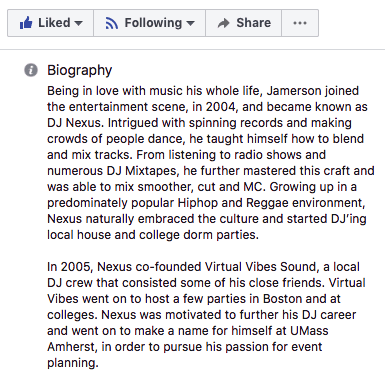 A story on DJ Nexus's Facebook Business Page