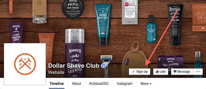 Dollar Shave Club Facebook CTA