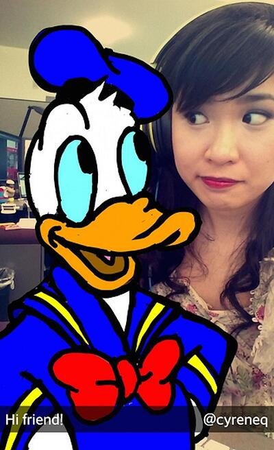 Amazing Snapchat drawing of Donald Duck
