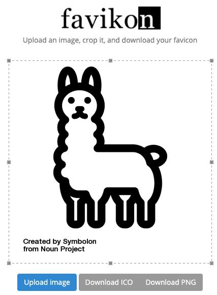 llama icon uploaded in favikon, a popular favicon generator