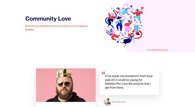 Testimonial page example from Dribbble