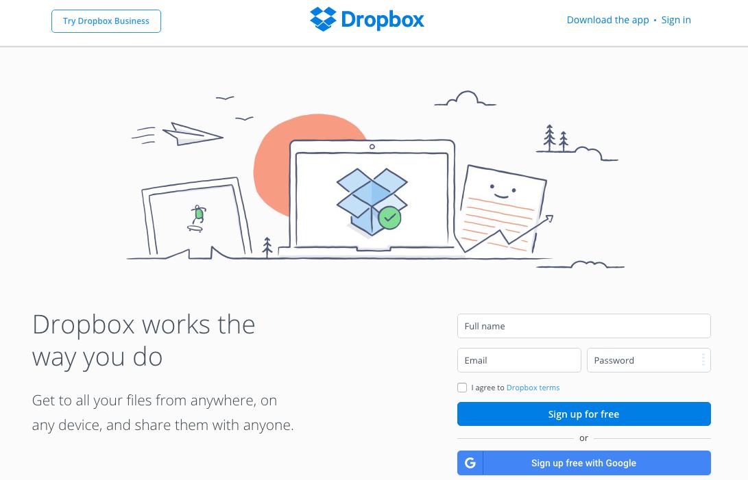 Dropbox Consumer Homepage Designpng