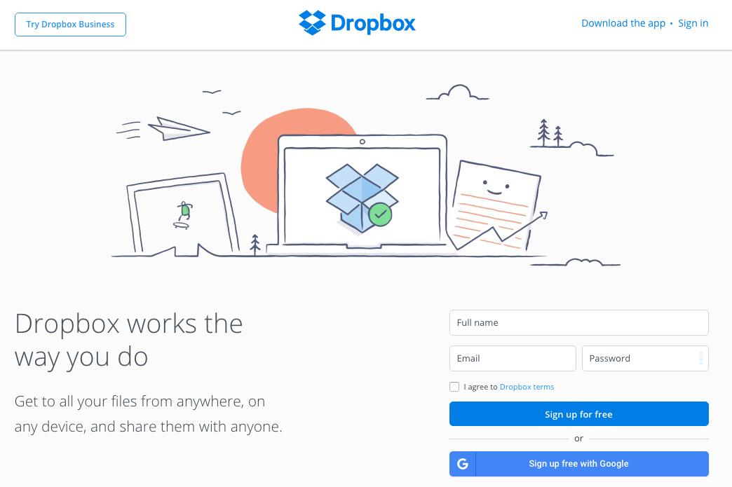 Dropbox call to action button