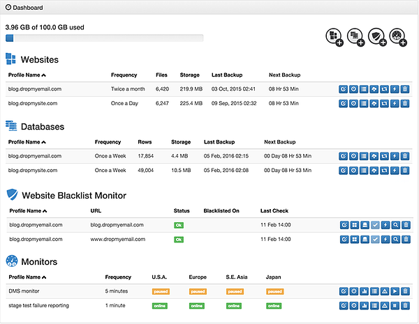 dropmysite backup dashboard for website backup example