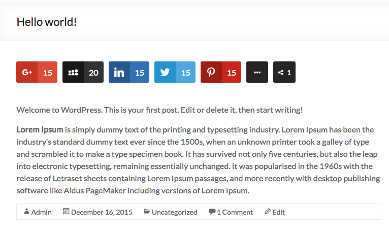 WordPress plugin Easy Social Share buttons added to viral post