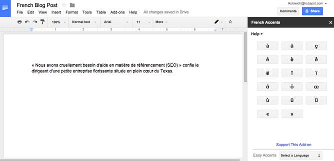 Language accent buttons in a Google Doc