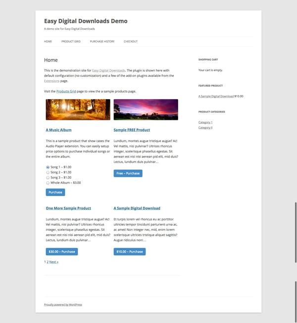 wordpress digital files download sample page