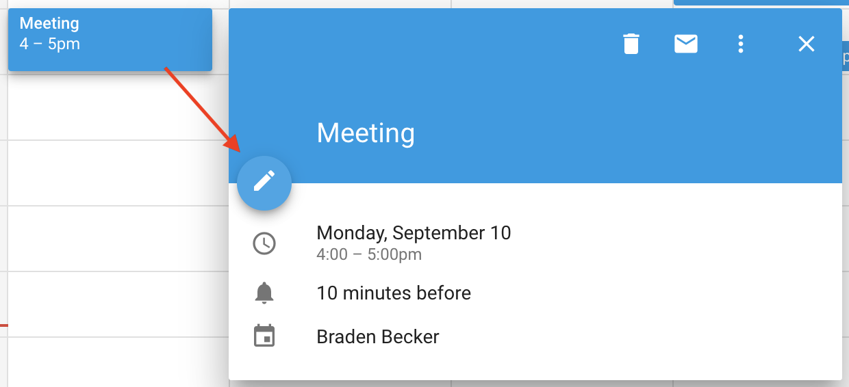 Pencil icon to edit event in Google Calendar