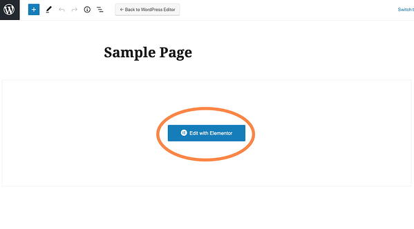 "WordPress' native page editor (Gutenberg) with the title ""Sample Page"" and a button that says ""Edit with Elementor"""