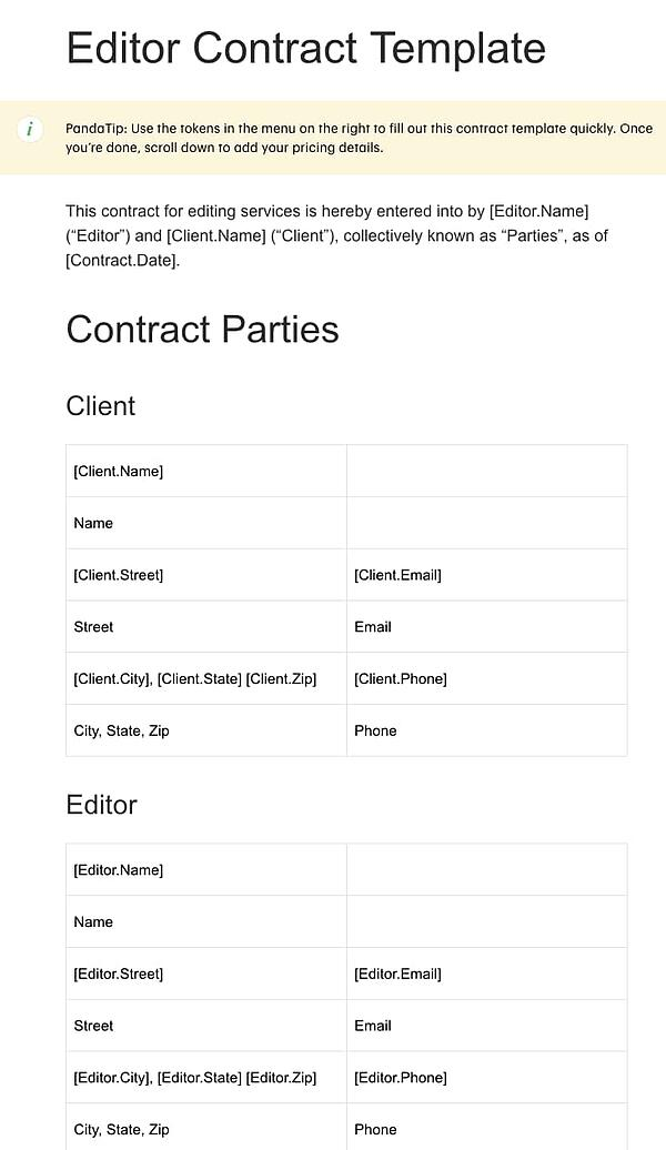 contract template for editors