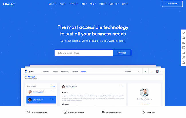 One-page WordPress theme demo for Ekko
