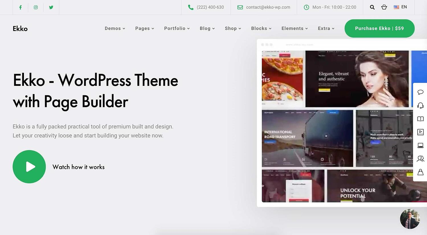 Ekko one page WordPress theme