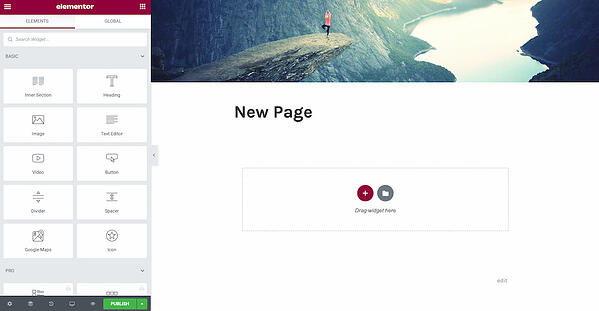 Elementor page editor with a widget library to the right and the new page's content to the left