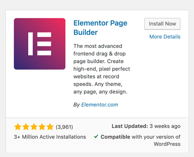 "Elementor plugin card inside WordPress's plugin library with a button saying ""Install Now"""