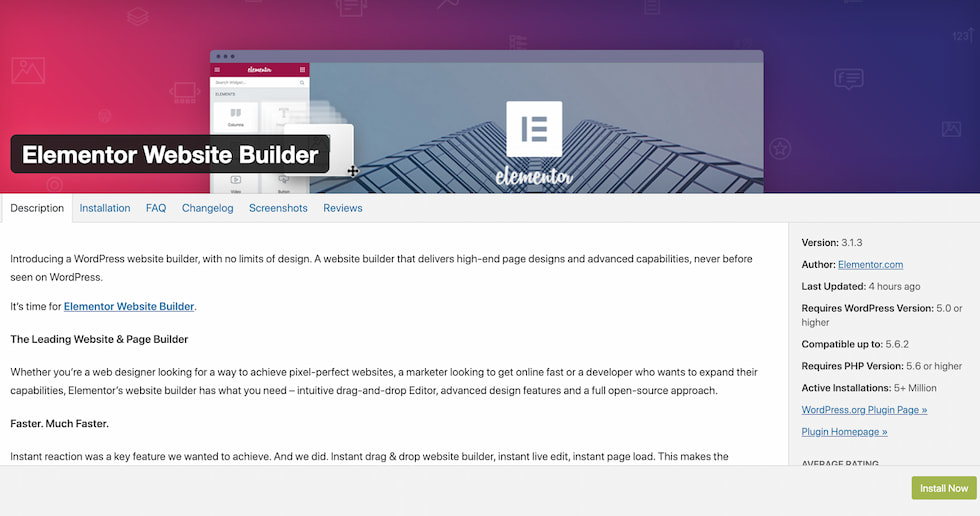 "Elementor's plugin page on WordPress' plugin library with the heading ""Elementor Website Builder"""