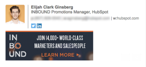 Email signature by Elijah Ginsberg that promotes the INBOUND marketing conference