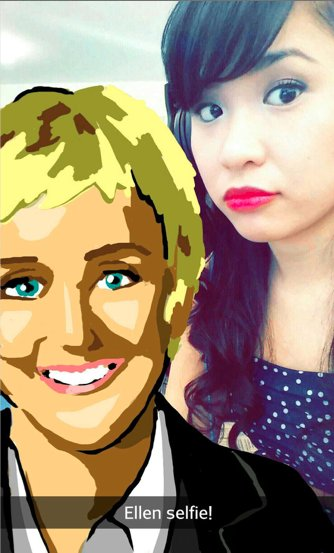 Amazing Snapchat drawing of Ellen Degeneres
