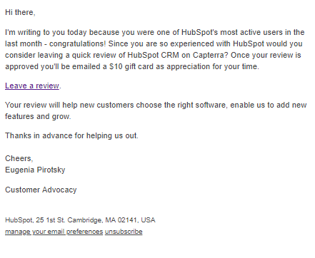 HubSpot's plain text email requesting users leave a review.