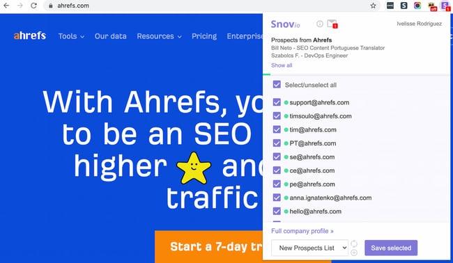 برنامه افزودنی Chrome Finder ایمیل