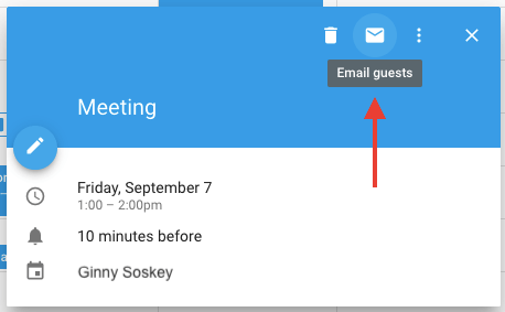 Envelope icon in Google Calendar event to email guests about a meeting