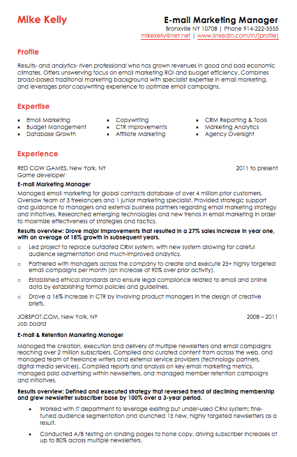 Email marketing resume template with red header text