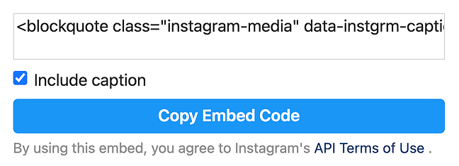 Copy embed code pop-up on Instagram