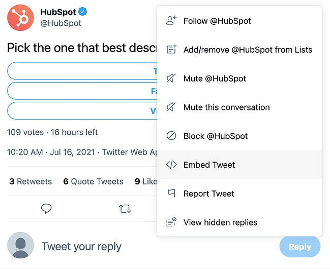 Embed Tweet button on Twitter
