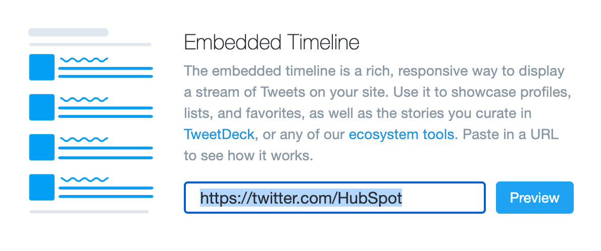 embedded timeline button on twitter developer page
