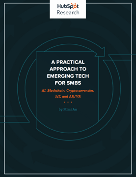 "hubspot research whitepaper cover that reads: ""a practical approach to emerging tech for smbs"""