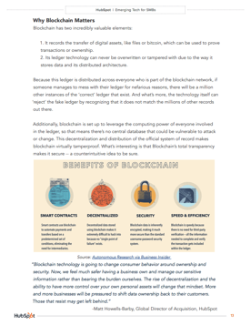 hubspot research whitepaper internal page that is about why blockchain matters