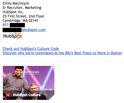 Professional email signature example by Emily MacIntyre with the HubSpot Culture video thumbnail in it