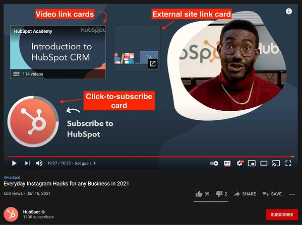 youtube end cards with subscription, external link, and video link demo